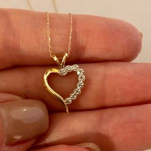 14K Gold & Diamond Heart Necklace